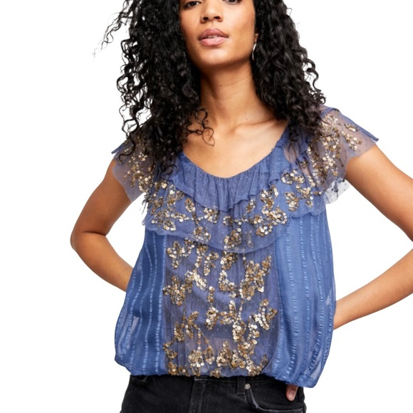 Free People Sequin Tulle Convertible Top Size L
